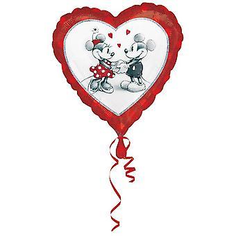 Helium Herzballon Partyballon Motiv Micky und Minnie Maus 45 cm