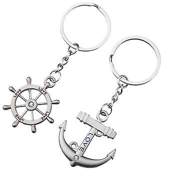 TRIXES carina amore ancora e timone portachiavi romantico regalo barca Marina catena in argento