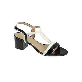 JLE063 Clarke Ladies Padded Smart Patent Strappy Fashion Block Heel Sandals