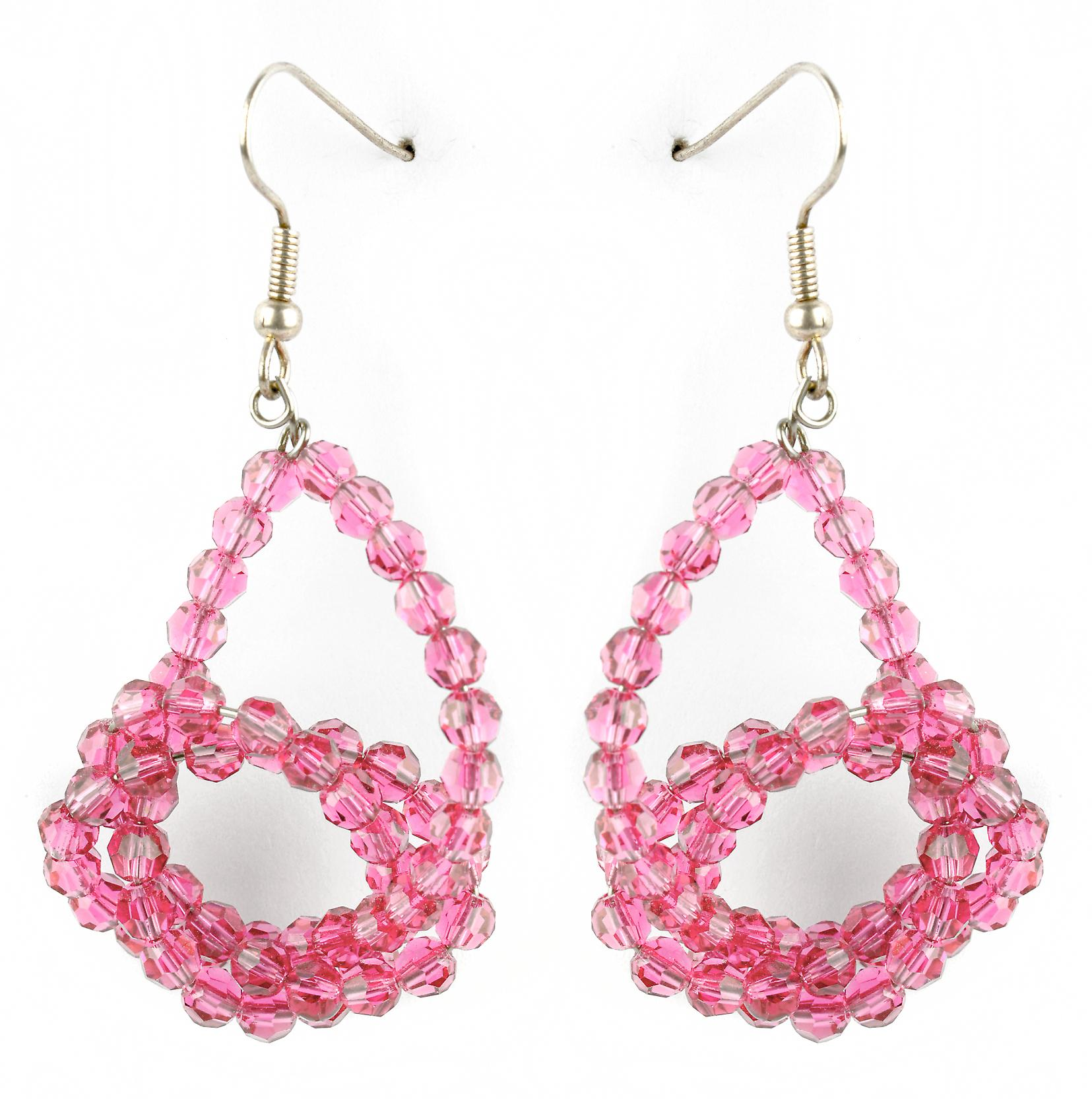 Waooh - Fashion Jewellery - WJ0749 - D'Oreille earrings with Swarovski Strass Rose Transparent - Frame Colour Silver