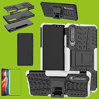 Para pedazo de Huawei P30 híbrido caso 2 blanco + 0,3 mm 4D H9 completo curvado vidrio templado el bolso funda manga
