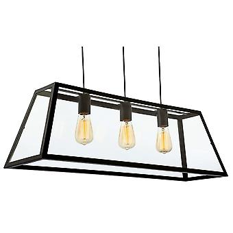 Firstlight Modern Industrial Black Open Large Glass Box Pendant