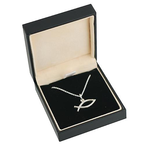 Silver 7x20mm Christian Fish symbol Pendant with a rolo Chain 14 inches Only Suitable for Children