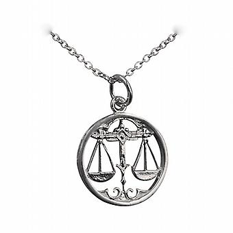 Silver 11mm pierced Libra Zodiac Pendant with a rolo Chain 14 inches Only Suitable for Children