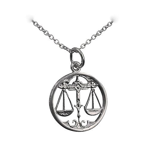 Silver 11mm pierced Libra Zodiac Pendant with rolo chain