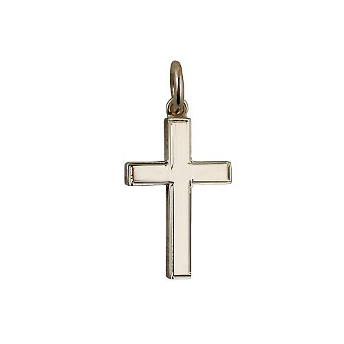 9ct Gold 20x8mm Engine turned line border solid block Cross