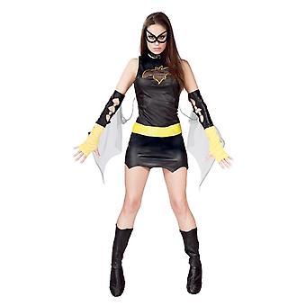 Womens Black Superhero Fancy Dress Costume