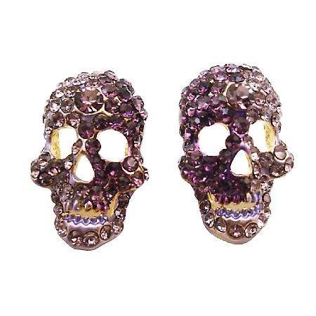 Skull Head Earrings w/ Amethyst & Tanzanite Crystals Skull Jewelry