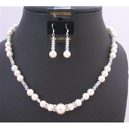 Fashionable Bridesmaid Jewelry Ivory Pearl AB Crystals Necklace Set