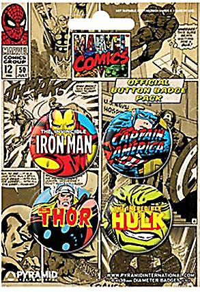 Marvel set of 4 round Pin Badges (mm)