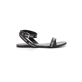 Balenciaga Black Leather Slippers
