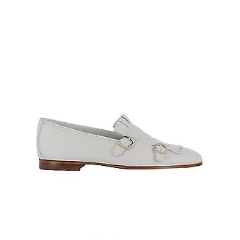 Santoni White Leather Loafers