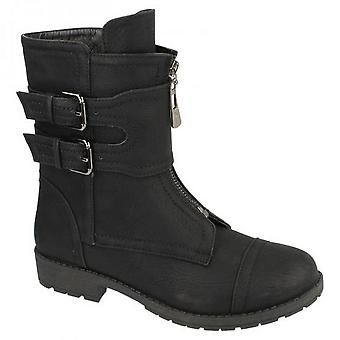 Spot On Womens/Ladies Zip Up Biker Style Boots