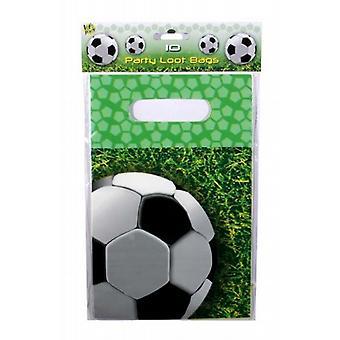 Gedrukte polyethyleen partij/Lucky Dip Loot tassen 23 X 15 cm 10/Pk - voetbal