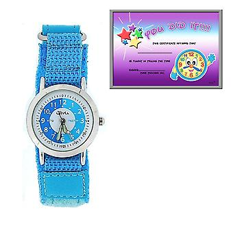 The Olivia Collection Time Teacher Blue Easy Fasten Watch + Telling Time Award