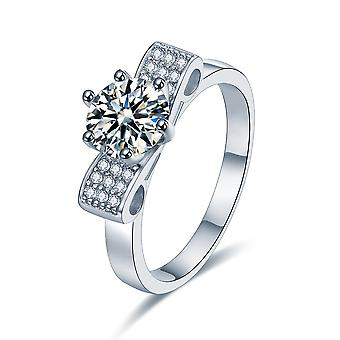 925 Sterling Silver Solitaire Ribbon Pave Accent Design Engagement Ring