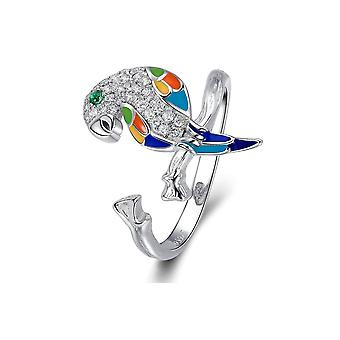 Ring adjustable Parrot woman adorned with Crystal from Swarovski white, enamel and Silver 925