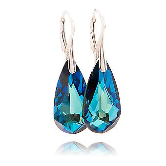 Ah! Jewellery Bermuda Blue Tear Drop Crystals from Swarovski Earrings, Sterling Silver