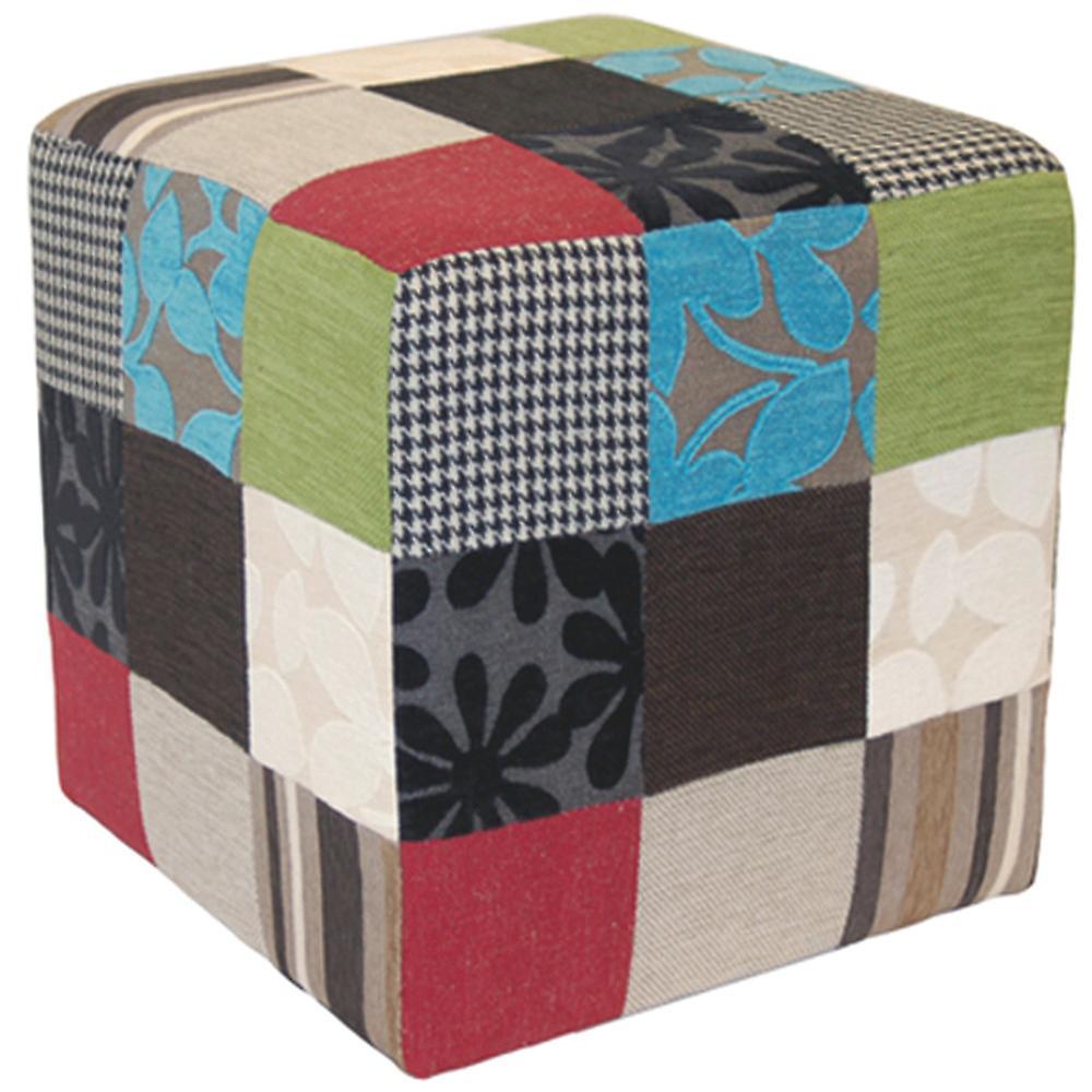 Patchwork peluche - Cube Tabouret   Pouf - bleu   vert   rouge