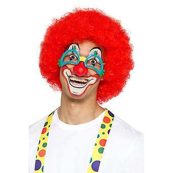 Crazy klovn briller flerfarget med klovn nese gummi karneval sirkus tilbehør