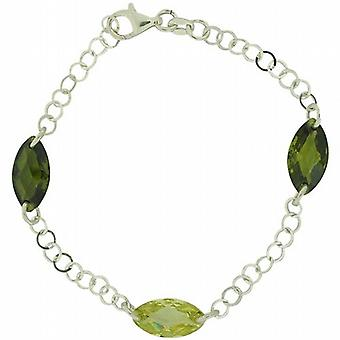 TOC Sterling Silver Green Oval Faceted CZ Round Link Bracelet 7.5