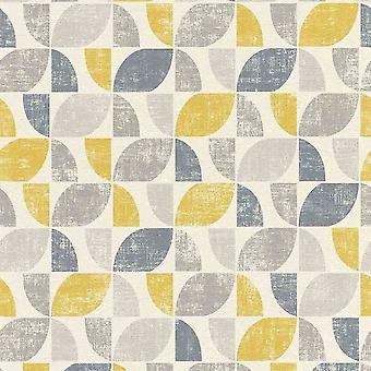 Graphic Geometric Vintage White Yellow Blue Wallpaper Paste Wall Textured Vinyl