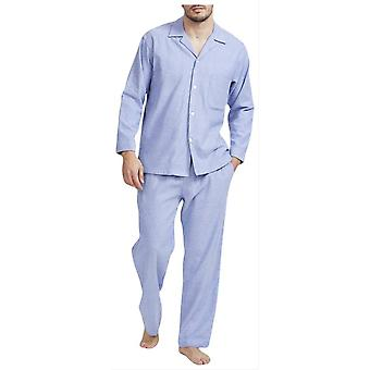 British Boxers Staffordshire Herringbone Flannel Pyjamas - Blue