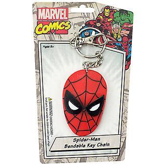 Sleutelhanger-Marvel-Spider-man's gezicht buigzaam nieuw speelgoed gelicentieerd krb-4611