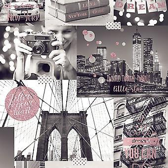Muriva Big City tapet New York foto mønster glitter motiv typografi L31003