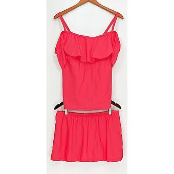 Isaac Mizrahi Live! Swimsuit Convertible Tankini w/Skirt Poppy Red A303187