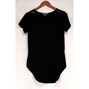 Kate & Mallory Top Short Sleeve Top + Shoulder Zipper Hi Lo Hem Black A425743