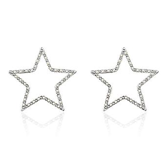 Platinum Plated Star Simulated Pearl Fashion Earrings, 4cm