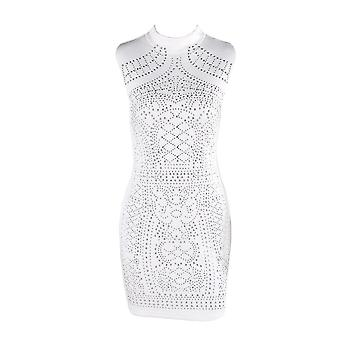 Sleeveless studded geometric party dress