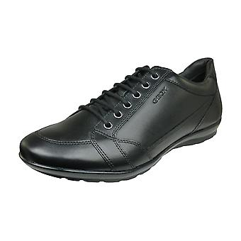 Geox U Symbol D Mens Smooth Leather Trainers / Shoes - Black