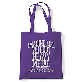 Life Without Heavy Metal Metalhead Tote | Heavy Death Metal Extreme Musician Aggression Rage | Reusable Shopping Cotton Canvas Long Handled Natural Shopper Eco-Friendly Fashion