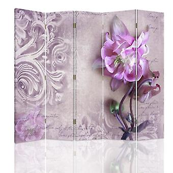Room Divider, 5 Panels, Double-Sided, Rotatable 360 ??° Canvas, Pink Orchid