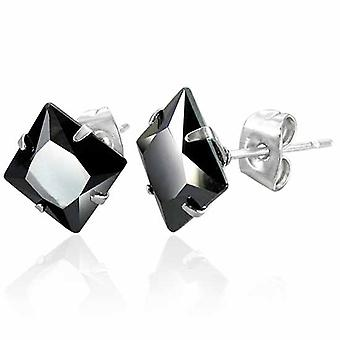 Urban Male Stainless Steel Stud Earrings with 8mm Square Black Agate