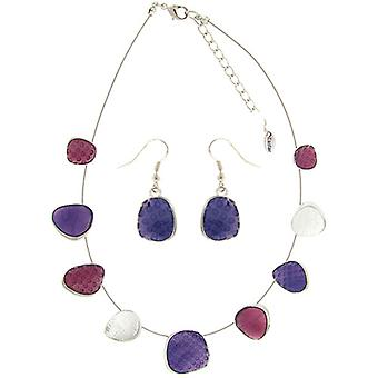 Purple and Pink Enamel Metal Necklace and Drop Earrings Set