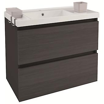 Bath+ Sink cabinet 2 drawers Front Slate Gloss Anthracite-80CM