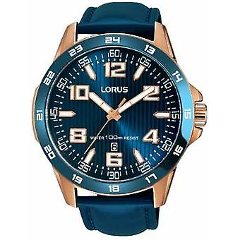 Lorus Mens Blue Leather Strap Blue Dial RH908GX9 Watch
