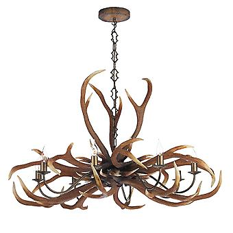 Antler Emperor 8 Light Pendant In A Natural Rustic Finish