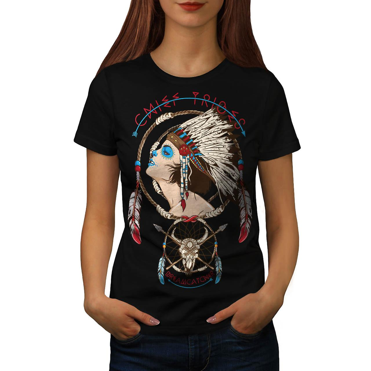 Chief Tribes Indian Leader Lady Women Black T-shirt | Wellcoda