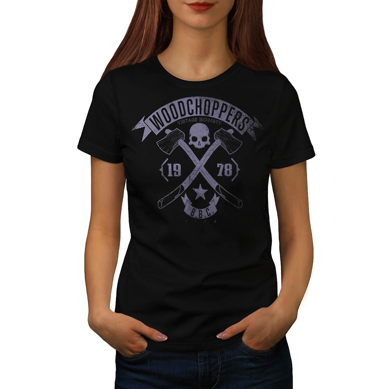 Woodchoppers Club Vintage Women Black T-shirt | Wellcoda