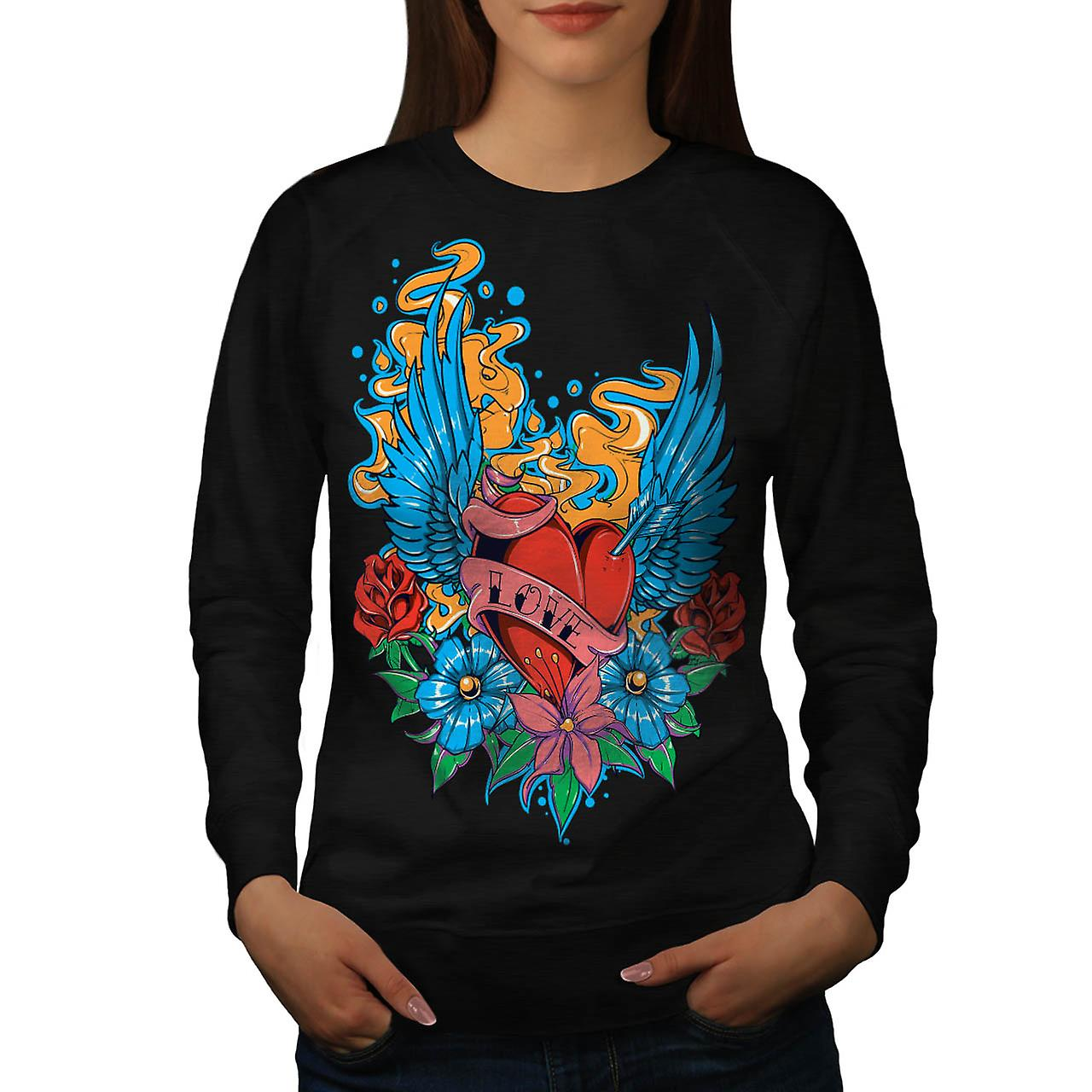 Love Garden Roses Bed Fly Wings Women Black Sweatshirt | Wellcoda