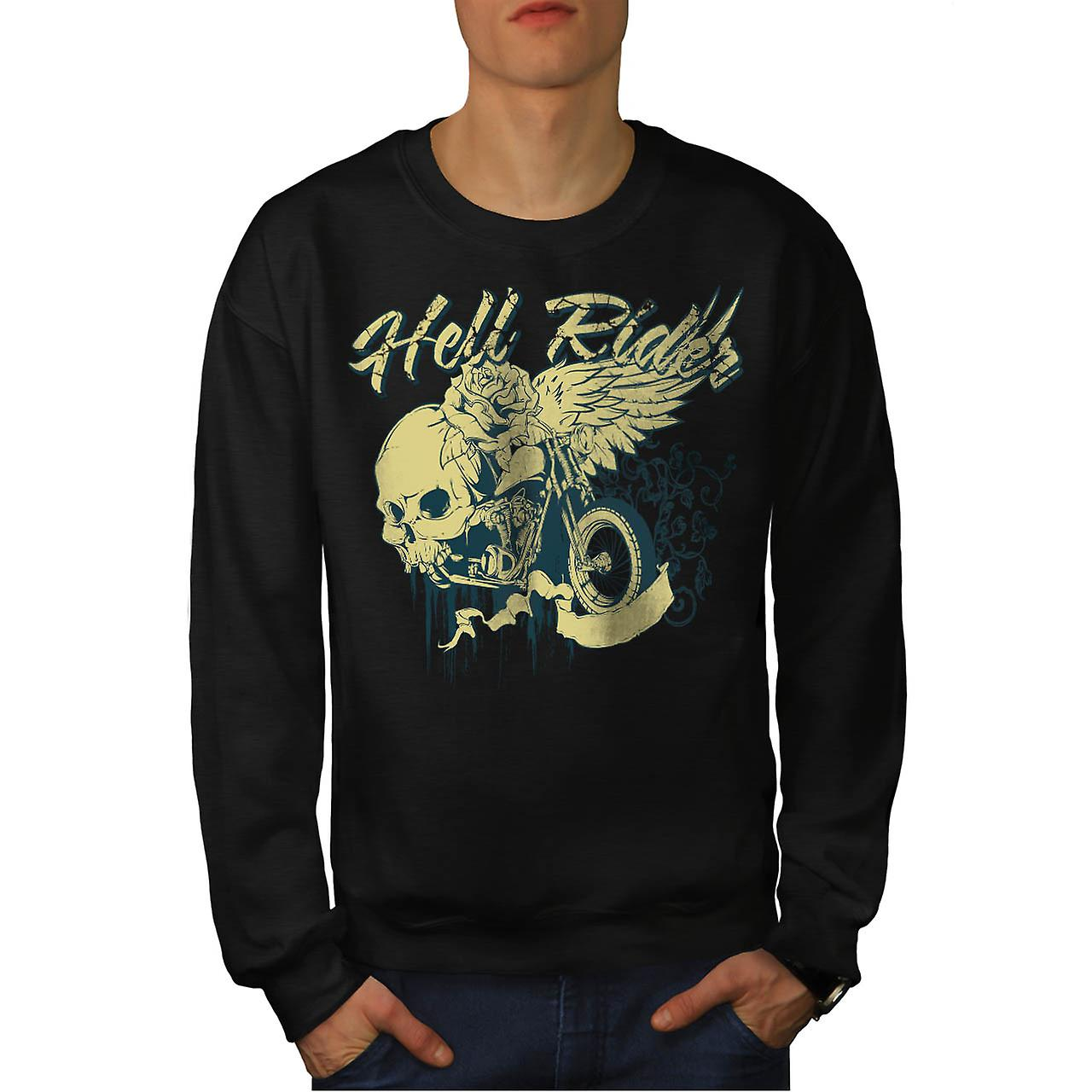 Hell Rider Biker Life Rose Skull Men Black Sweatshirt | Wellcoda