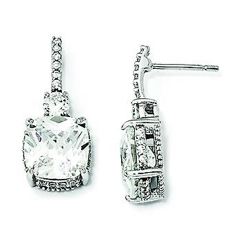 Sterling Silver Square CZ Post örhängen