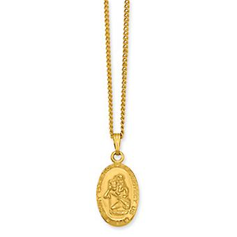 18in Gold-Flashed Solid Gift Boxed Spring Ring Polished and satin Sml St. Christopher Medal Necklace 18 In