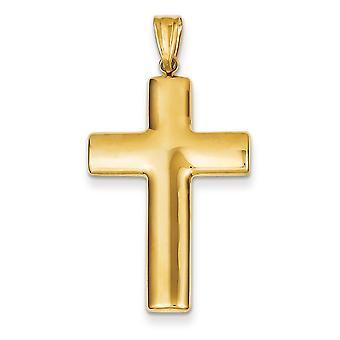 14 k gule gull hul Flat tilbake polert Cross anheng - 1,9 gram - måler 21.4x40mm