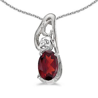 10k White Gold Oval Garnet And Diamond Pendant with 18