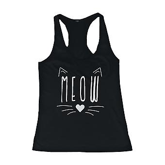 Meow Cute Kitty face Women's Tank Top Black Sleeveless Tanks for Cat Lovers